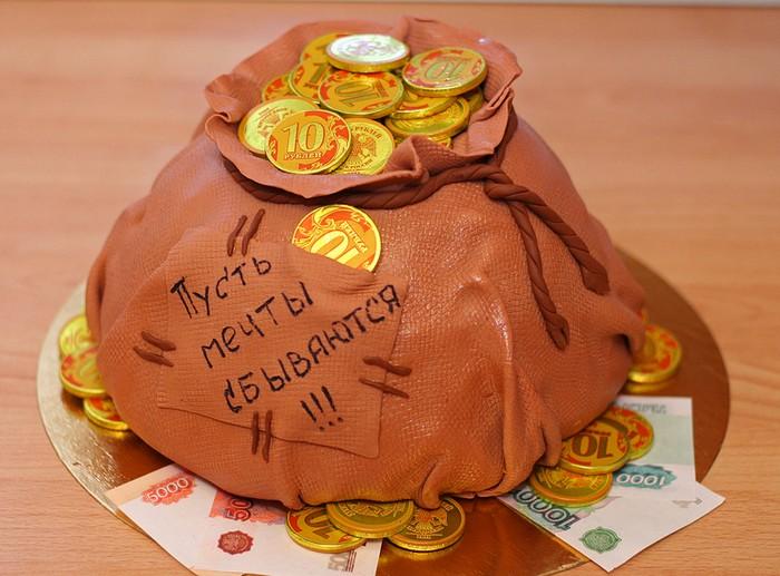 Новогодний торт Мешок с деньгами. Заказать торт с доставкой в Саратове